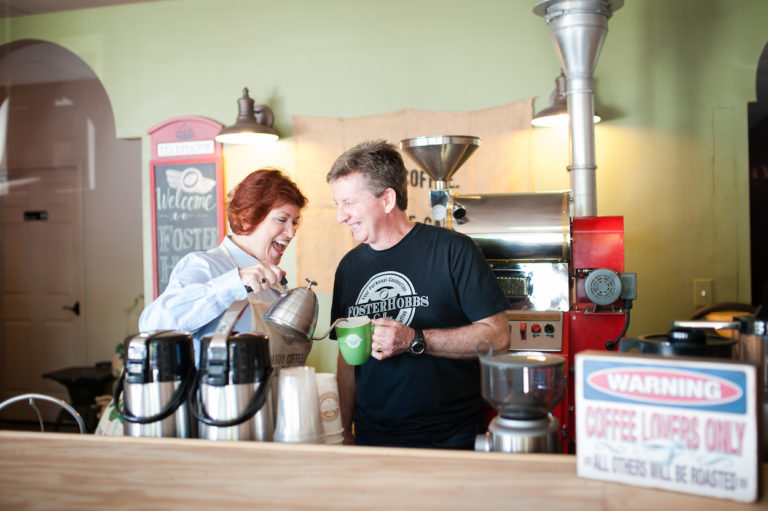 Mike and Pam Foster, Owners of FosterHobbs Coffee Roasters in High Point, NC.