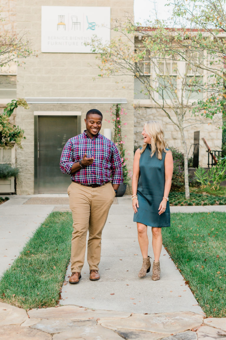 Cyril Jefferson, Founder and CEO of Change Often and councilman elect for the City of High Point and Christi Barbour, Founder of High Point Discovered and Founder & Partner of Barbour Spangle Design walk together on a path at the Bienenstock Library.