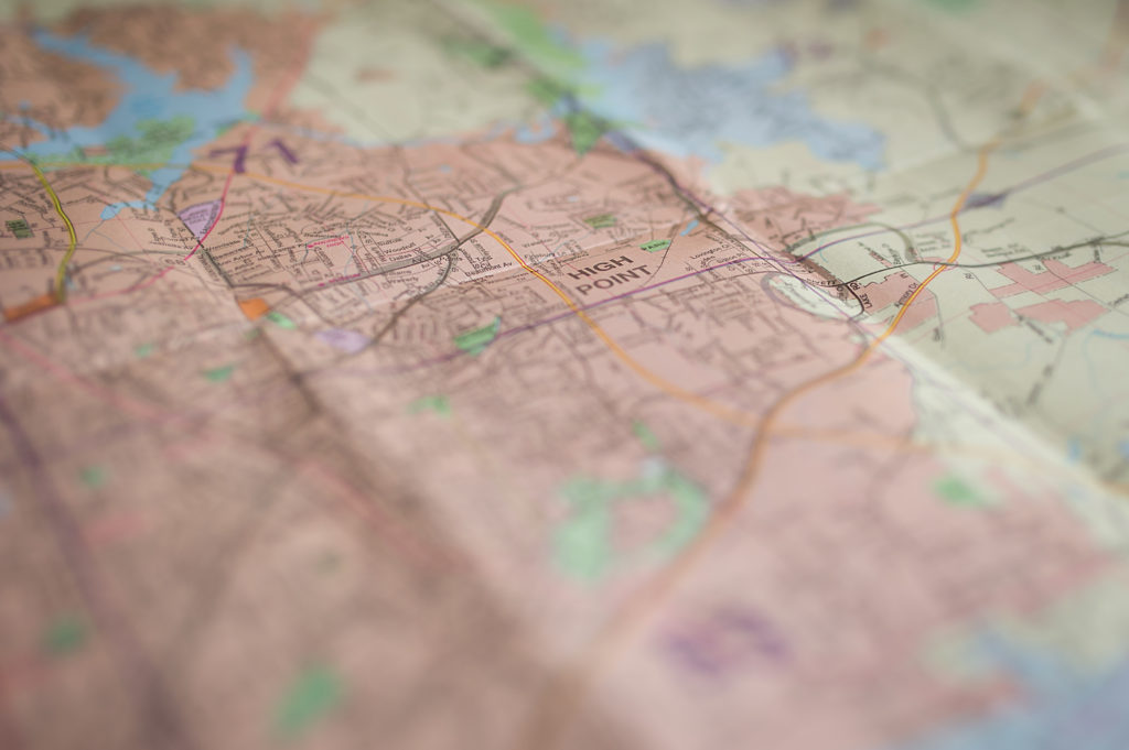 """A map of North Carolina with the words """"High Point"""" in focus."""