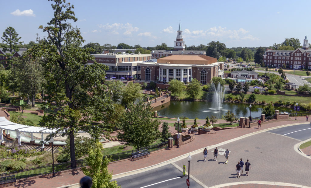 An aerial shot of the High Point University campus.