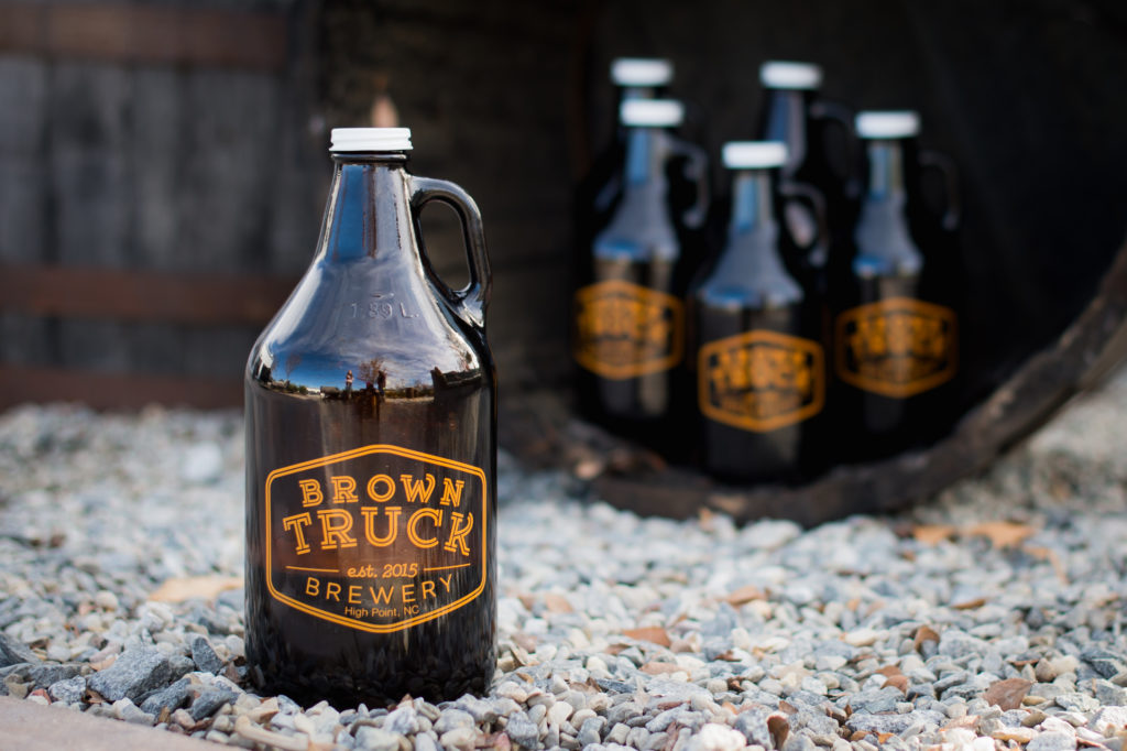 Picture of growlers from Brown Truck Brewery in High Point.
