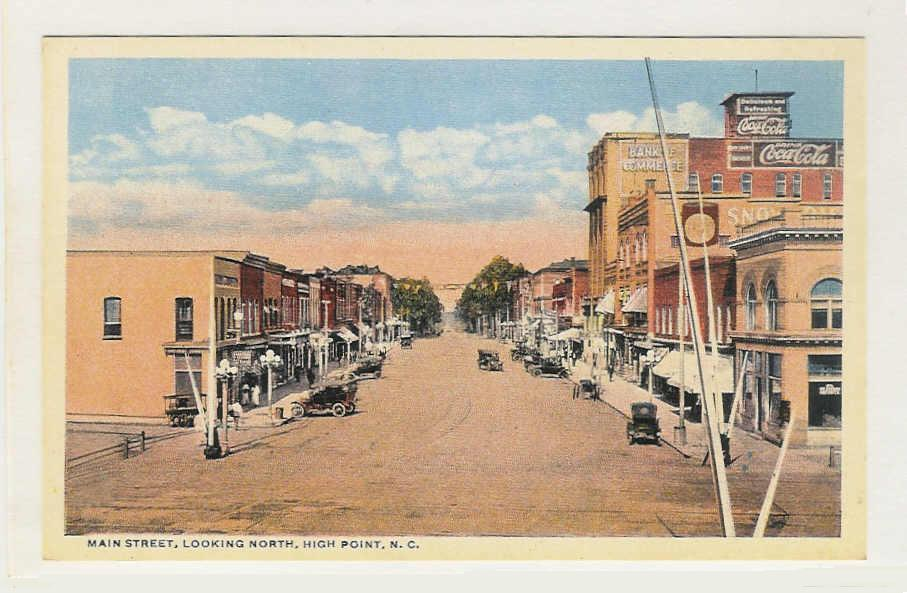 An old drawing of High Point, North Carolina's Main Street.