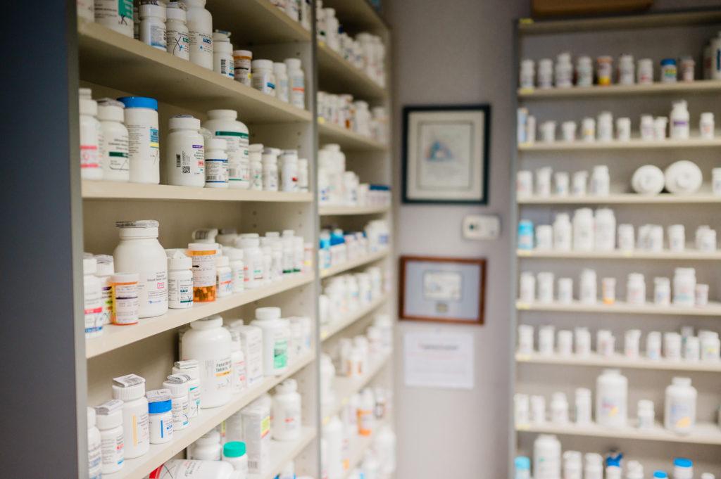 Community Clinic of High Point shelves full of prescription medications.