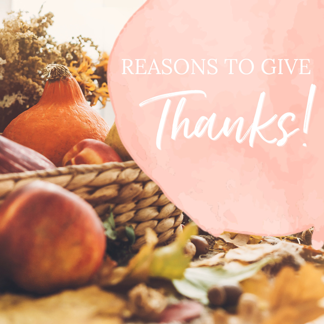 "Pumpkins and gourds sit in a basket with a graphic of a paint swatch that says ""Reasons To Give Thanks."""