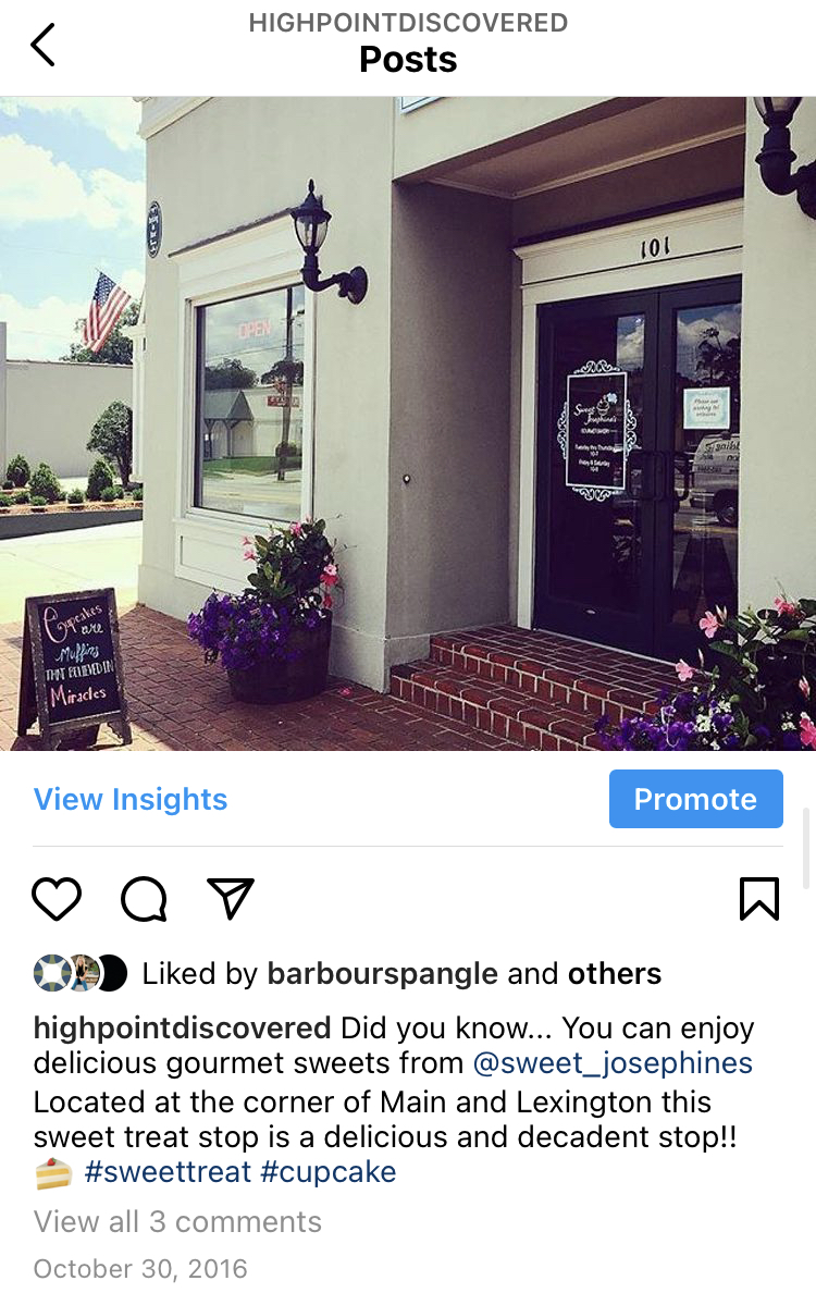 A screenshot from the High Point Discovered Instagram in 2016 that features Sweet Josephine's.