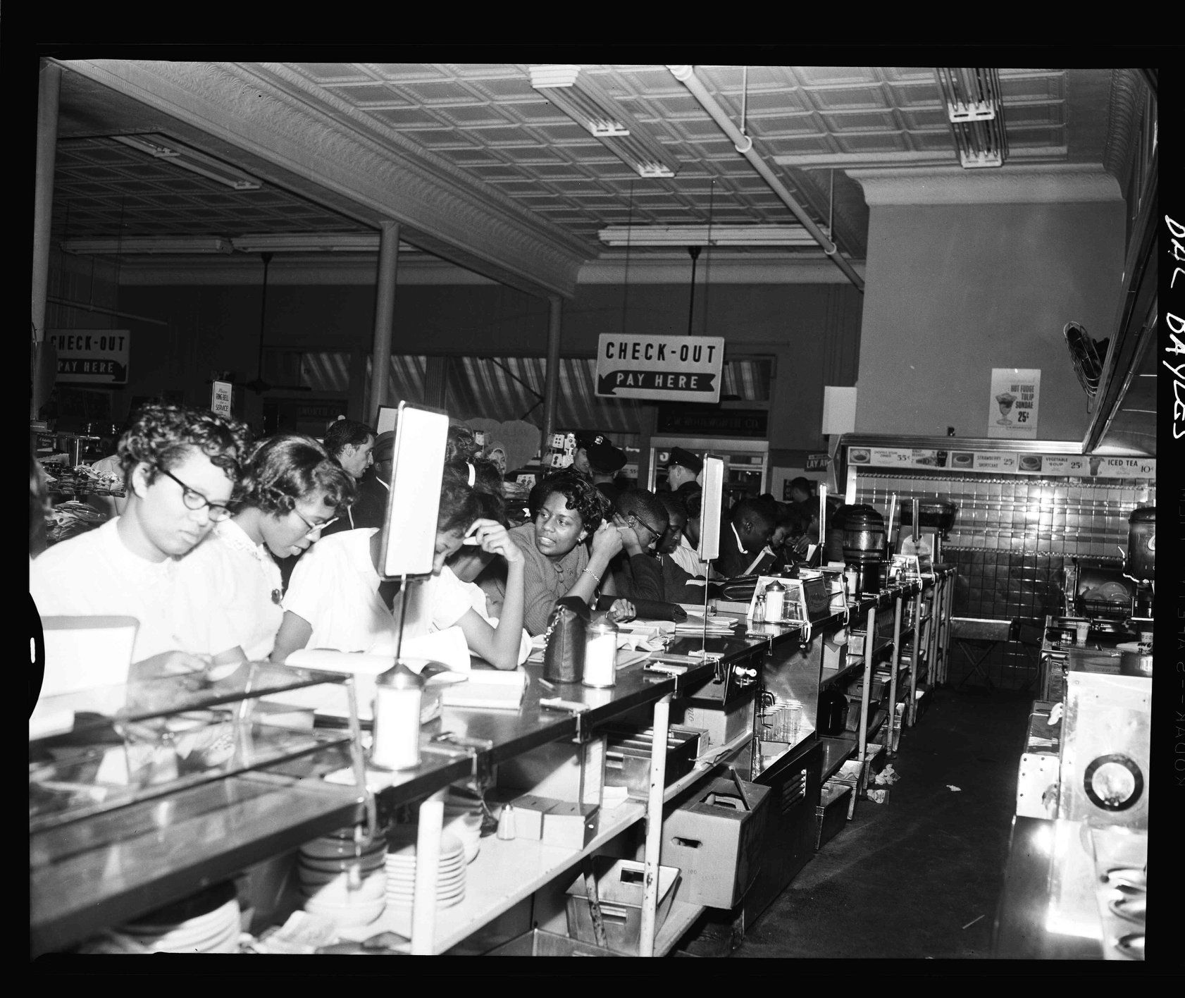 A photo from the High Point Civil Rights sit in at the Woolworth's Department Store.