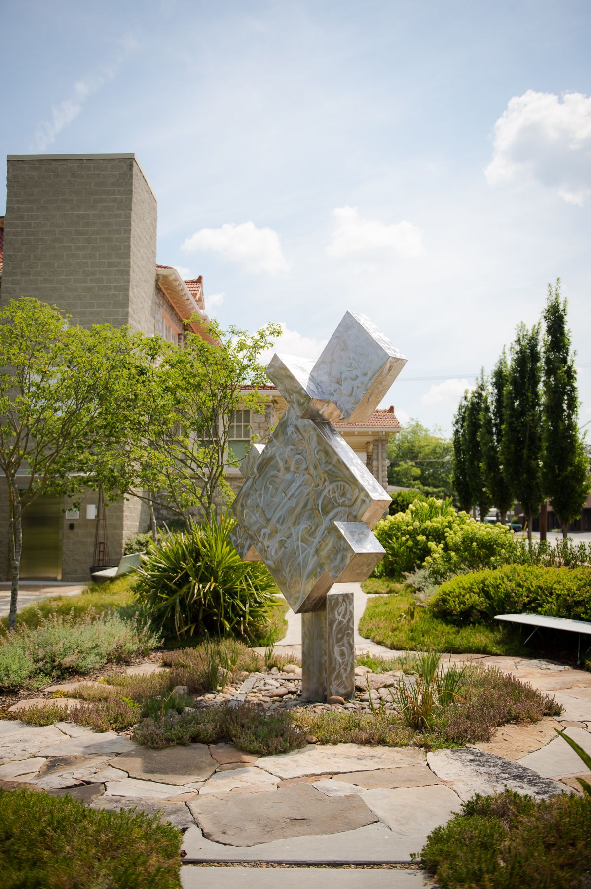 A photograph of the Jitterbug public art sculpture at The Bienenstock Furniture Library.