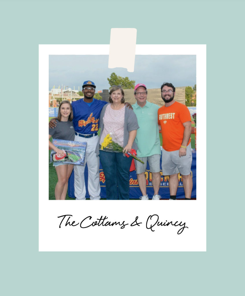 The Cottam family stands with their Rockers player, Quincy on the Field in High Point, NC.
