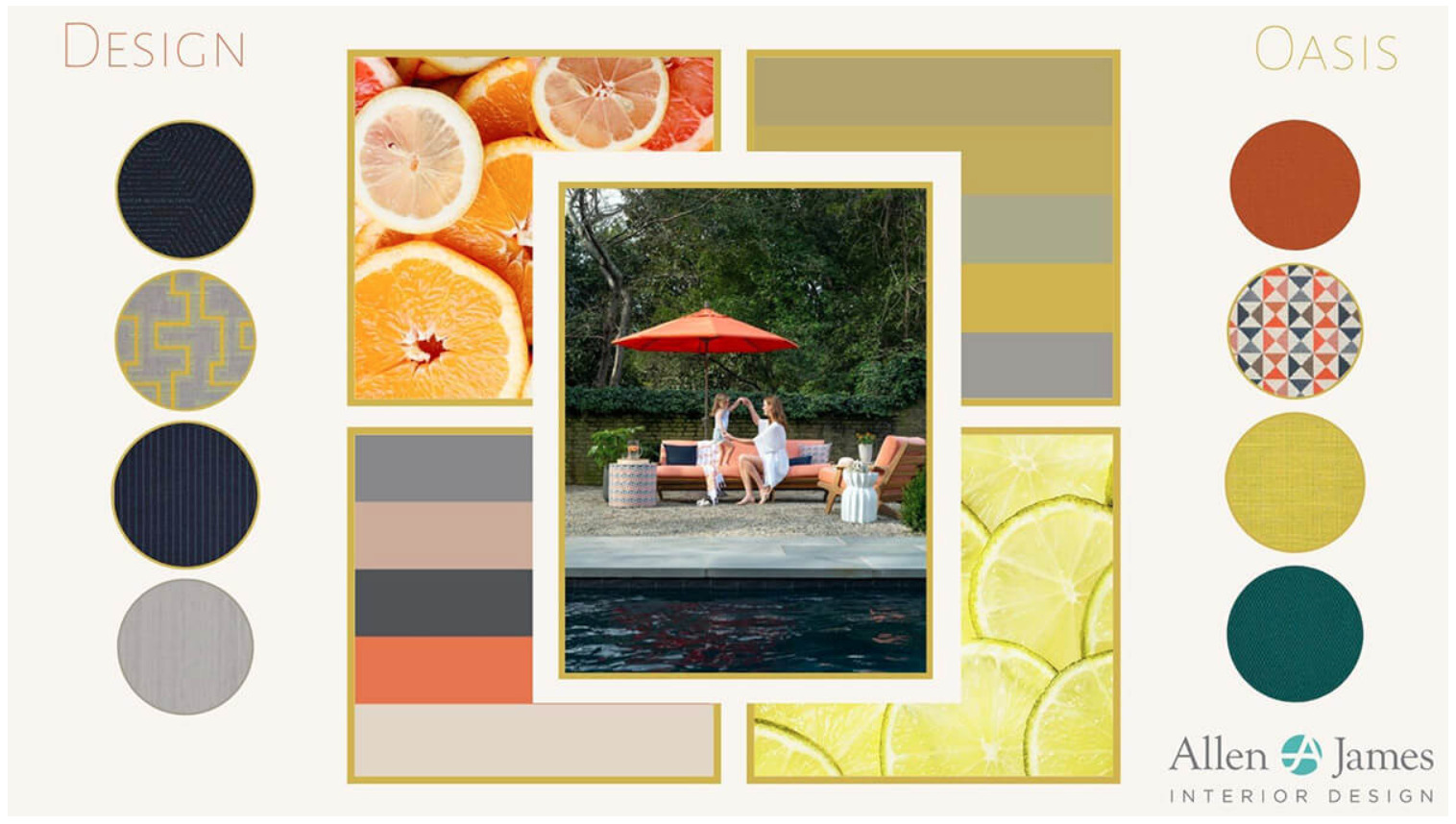 This spring-inspired mood board by Allen & James Interior Designs is full of warm vibes for this season.