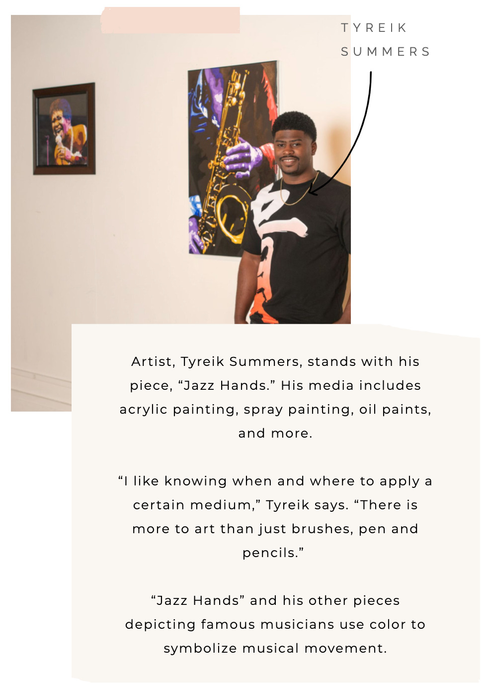 Tyreik Summers, artist in Greensboro, NC, stands with his work at the Gallery on Main in High Point, NC.