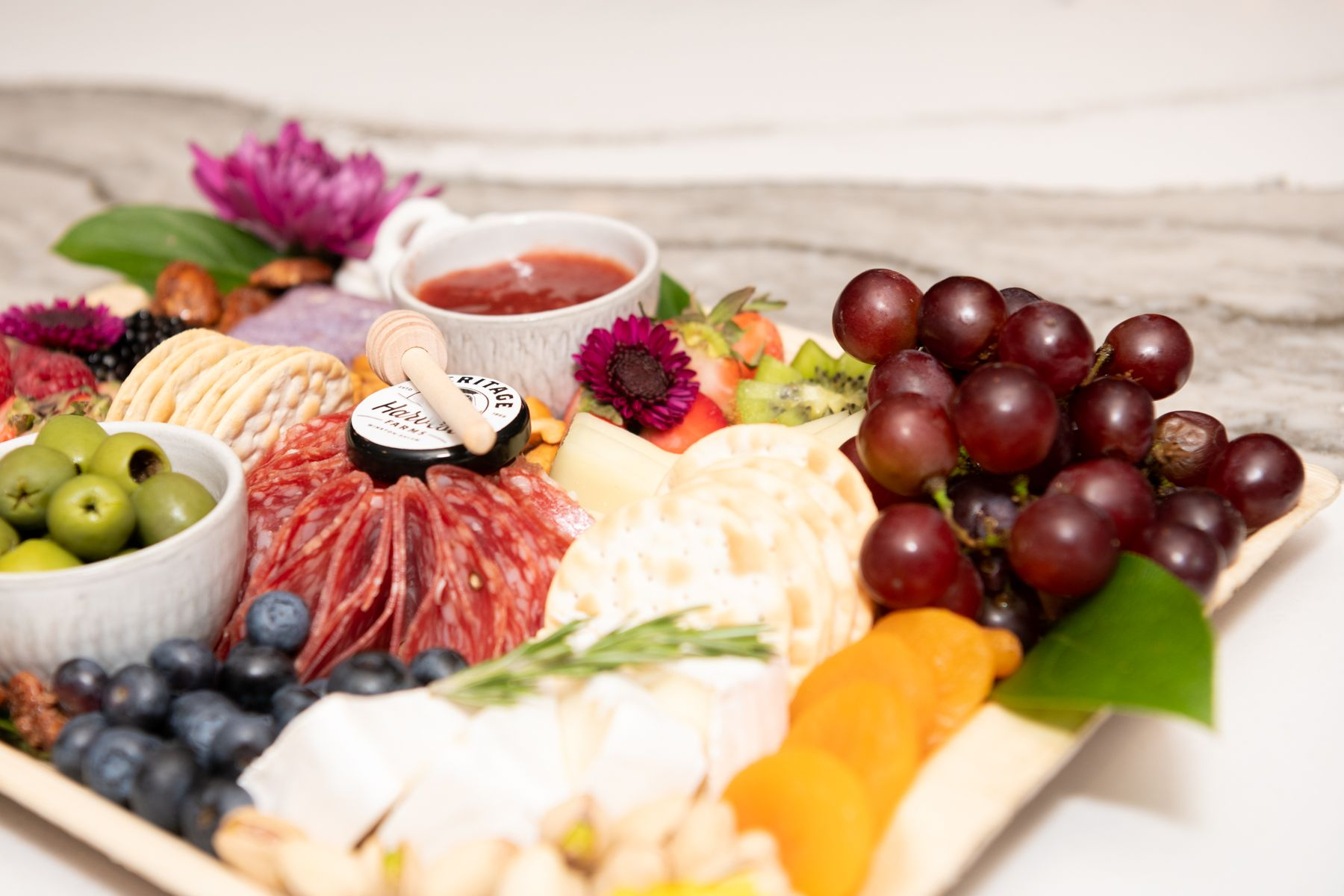 A charcuterie board by The Blooming Board in High Point, NC.