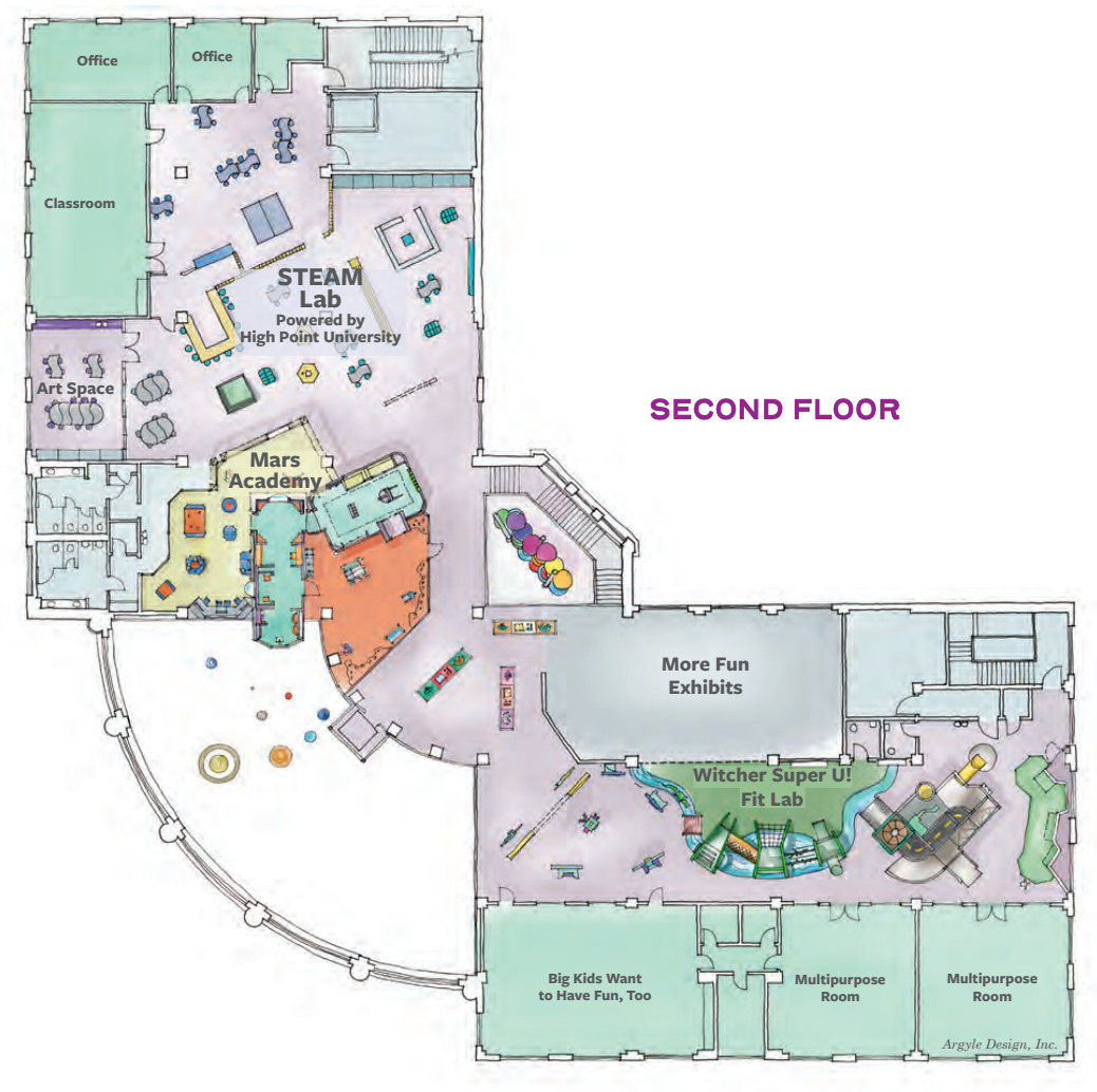 While some exhibits are still changing, this rendering depicts the first-floor plan for the museum.