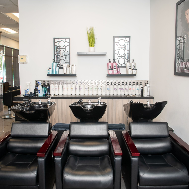 Salon chairs and sinks at Avanti Spa & Salon in High Point, NC.